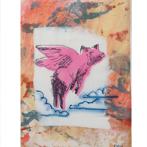 Flack 17x23 Pig in Flight WP952 SOLD