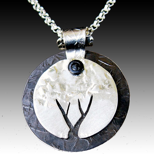 Peterman Tree Mixed Media Round Necklace JN1341 SOLD