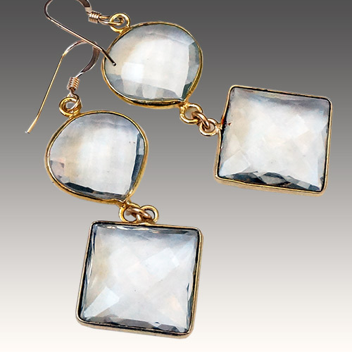 Sher Clear Quartz & Gold Fill Earrings JE3049