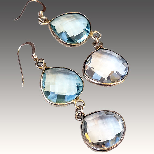 Sher Aquamarine & Clear Quartz Earrings JE3052