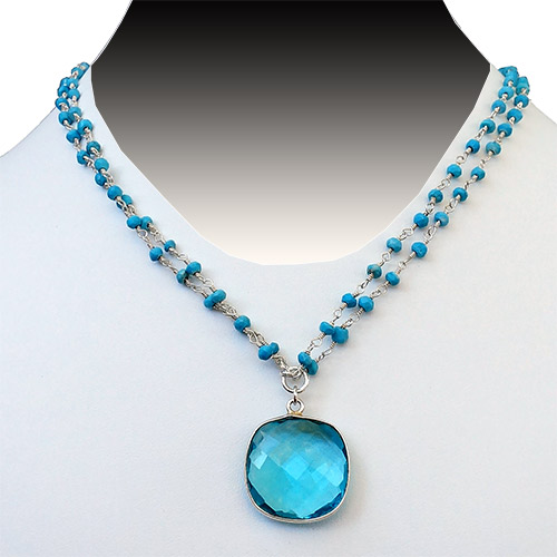 Sher Topaz & Turquoise Necklace JN2053