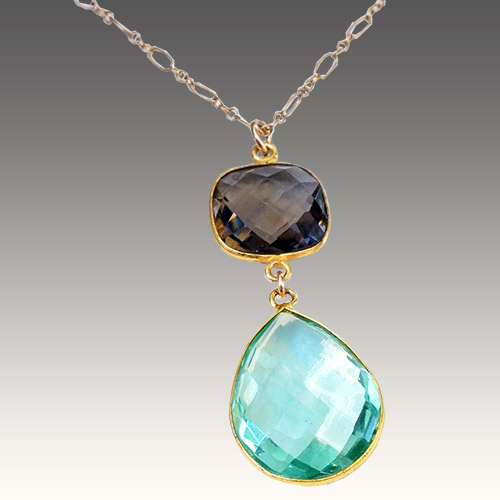 Sher Smokey Topaz & Blue Apatite Necklace JN2057 SOLD