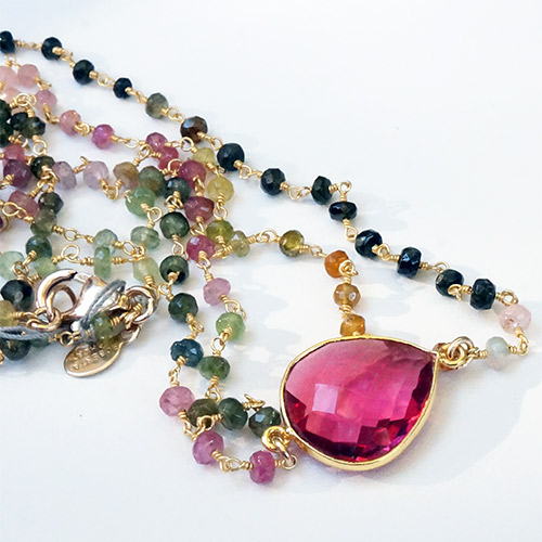 Sher Tourmaline & Pink Quartz Necklace JN2058