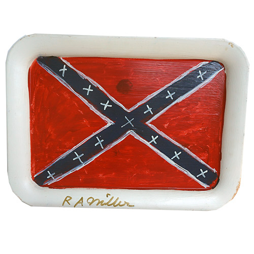 "RA Miller Confederate Flag on Tray 17"" x 12"" OP346"