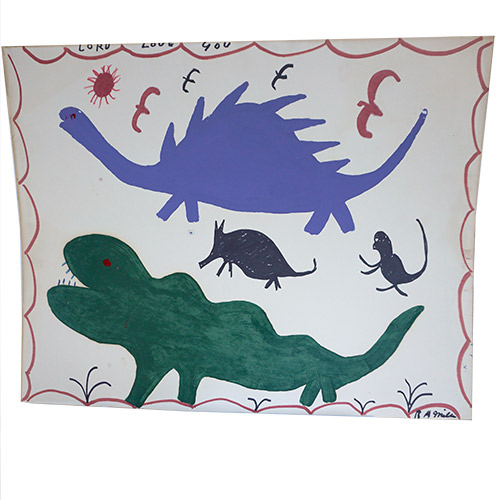 "RA Miller Dinosaurs in Markers on Paper 22"" x 28"" OP347"