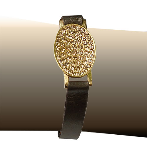 Rebel Designs Womens Leather & 18K Gold Plate JB615
