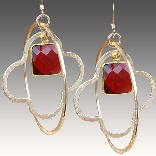 Sher Earrings Circles & Stones - Garnet JE3054