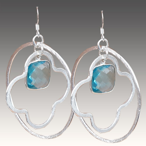 Sher Earrings Circles & Stones - Blue Topaz JE3058