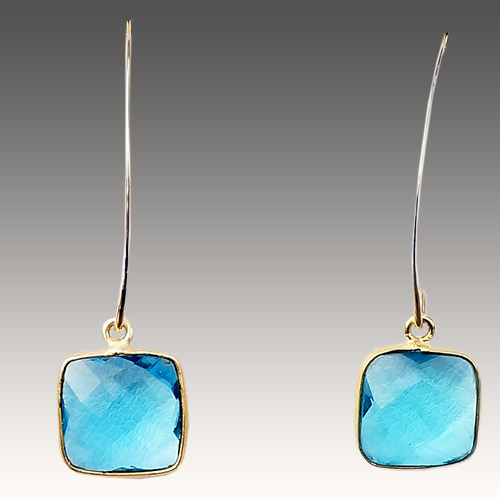 Sher Earrings Artesian Stones - Blue Topaz JE3059
