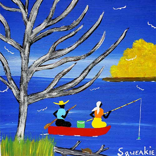 Squeakie 12x12 Fishing in Boat WP1264 SOLD