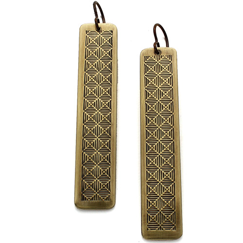 Ten2Midnight ERs Textured Checkered Brass Rectangles JE3356