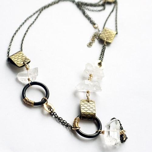 "Ten2Midnight Necklace ""Chiaroscuro'' Asymmetrical Mixed Link JN2239"