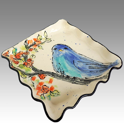 "Teyros Tabletop 7"" Square Dessert Plate Blue Bird DP1256 DS"