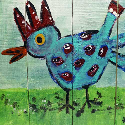 Tracy Swack 11x8 Chicken on Wood WP1833
