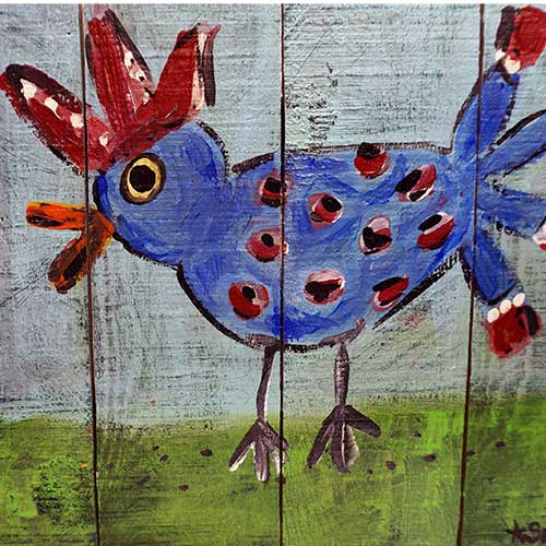 Tracy Swack 11x8 Chicken on Wood WP1834