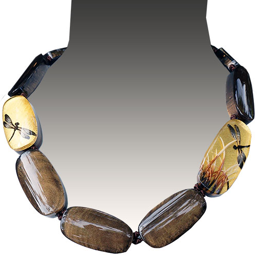 Zsiska Fragile Gold/Brown 12 Bead Necklace JN1940